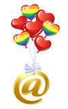 At-symbol with bunch of heart balloons Stock Images