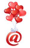At-symbol with bunch of heart balloons Royalty Free Stock Image