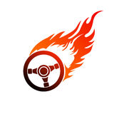 Symbol burning automobile steering Royalty Free Stock Photos
