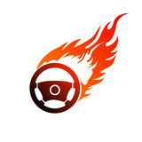 Symbol burning automobile steering Royalty Free Stock Photography