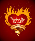 Symbol of burning heart with fire flames and ribbon royalty free illustration