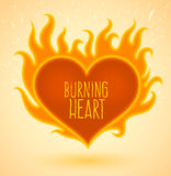 Symbol of burning heart with fire flames Stock Photo