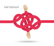 Symbol of business cooperation and partnership. Sign of agreement or friendship. Vector concept illustration with couple of hand and knot of red rope. Design Royalty Free Stock Photography