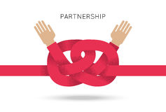 Symbol of business cooperation and partnership. Sign of agreement or friendship. Vector concept illustration with couple of hand and knot of red rope. Design Royalty Free Stock Images