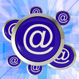 At Symbol Buttons Showing Online Correspondence Stock Image