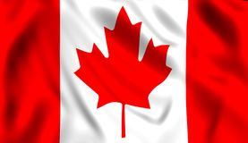 Canadian flag waving in the wind stock illustration
