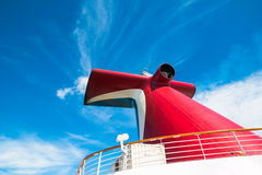 Symbol of Carnival. The symbol of the cruise company Carnival - a special form of chimneys stock photo