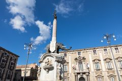 Symbol of Catania is Fountain of the Elephant. Royalty Free Stock Images