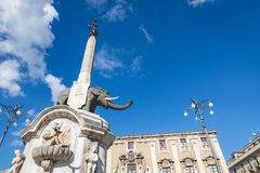 Symbol of Catania is Fountain of the Elephant. Stock Image