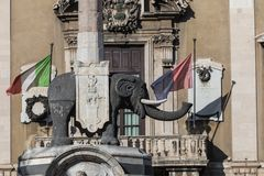 Symbol of Catania is Fountain of the Elephant. Stock Images