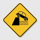 symbol caution cliff ahead sign on transparent background vector illustration