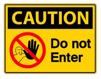Free Symbol Caution Do Not Enter Symbol Sign On White Background,Vector Illustration Royalty Free Stock Images - 144550109