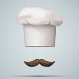 Symbol of chef cap toque and mustache. Haute cuisine. Vector illustrations Stock Photography