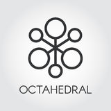 Symbol of chemical compound or octahedral molecule icon. Symbol of chemical compound or octahedral molecule. Black icon. Pixel perfect 48x48 px. Simplicity Stock Photos