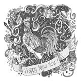 Symbol of chinese new year rooster. Sketch Cartoon cute hand-drawn doodle Happy New Year illustration. Royalty Free Stock Photo