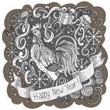 Symbol of chinese new year rooster. Sketch Cartoon cute hand-drawn doodle Happy New Year illustration. Stock Image