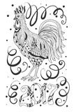 Symbol of chinese new year rooster. Sketch Cartoon cute hand-drawn doodle Happy New Year illustration. Vector artwork. Line art picture Royalty Free Stock Image