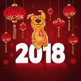 Symbol of the Chinese New Year 2018. Year of the dog. Design for royalty free illustration