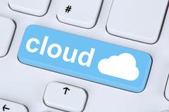 Symbol chmura oblicza online na internet cyberprzestrzeni Obrazy Royalty Free