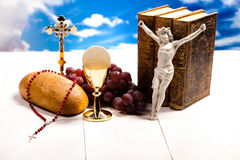 Symbol christianity religion, bright background, saturated conce Stock Photos