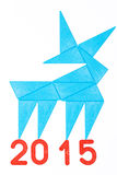 Symbol. Christmas symbol, the goat made ​​out of blue triangles and red numbers on a white background stock image