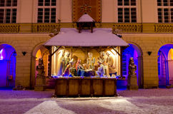 Symbol of Christmas - Nativity scene in the center of Lviv Stock Photography