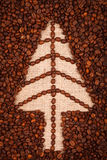 Symbol of Christmas tree on burlap Stock Photography