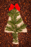 Symbol of Christmas tree with juniper leaves Royalty Free Stock Photography