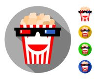 Symbol of the cinema, film screening and films. Popcorn in glasses for 3d with a smile, hair and beard effects .logo, sign, emblem, icon stock illustration