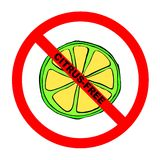 Symbol: Citrus-Free Text. Symbol for citrus-free food for those with citrus intolerance with explicit text Vector Illustration