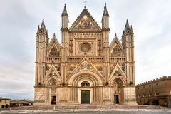 Panoramic view of Cathedral of Orvieto Duomo di Orvieto, Umbria, Italy stock images