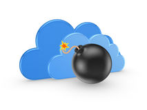Symbol of cloud computing and black bomb. Stock Photos