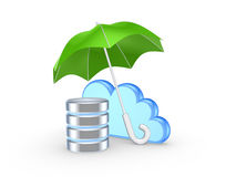 Symbol of cloud under green umbrella. Royalty Free Stock Photos