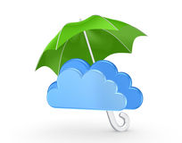 Symbol of cloud under green umbrella. Royalty Free Stock Photo