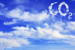Symbol CO2 from clouds. On blue sky Royalty Free Stock Photos