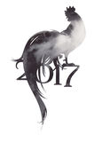 2017 symbol of cock in grey colors. 2017 symbol of cock with watercolor texture in shades of grey. Rooster with scrolling tail. Vector illustration. Chinese Stock Photo