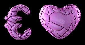 Symbol collection euro and heart made of pink plastic. Collection symbols of low poly style pink color plastic isolated. On black background 3d rendering stock illustration