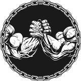 Symbol of the competition on armwrestling. Vector illustration, Symbol of the competition on armwrestling, on white background Stock Images