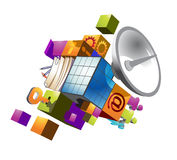 Symbol of computer technologies. Composed of different aspects of it Royalty Free Stock Image
