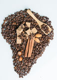Symbol of the continent. Of coffee Stock Photos