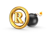 Symbol of copyright and black bomb. Royalty Free Stock Photo