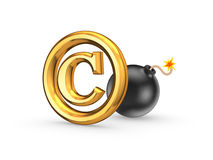 Symbol of copyright and black bomb. Royalty Free Stock Image