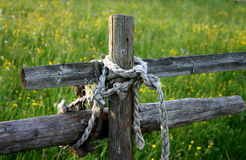 Symbol of country life. Wooden fence of a paddock royalty free stock images