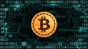 Symbol of crypto currency bitcoin on the background of binary code and printed circuit board