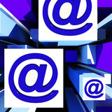 At Symbol On Cubes Showing Online Communication Royalty Free Stock Photos