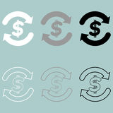 Symbol currency exchange white grey black icon. Royalty Free Stock Photo