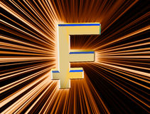 Symbol currency franc. Three-dimensional image of the gold franc symbol among the colored rays Stock Photo