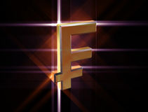 Symbol currency franc. Three-dimensional image of the gold franc symbol among the colored rays Royalty Free Stock Photo