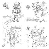 Symbol 2015.Cute outline sheep in time of year. Doodle Sketch in the style of children's hand drawing. Cute outline sheep girl in time of year. Spring ,summer Royalty Free Stock Image
