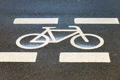 Symbol for a cycle path on the road Stock Image